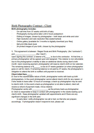 Birth Photography Contract Sample