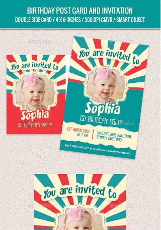 Birthday Post Card and Invitation Card