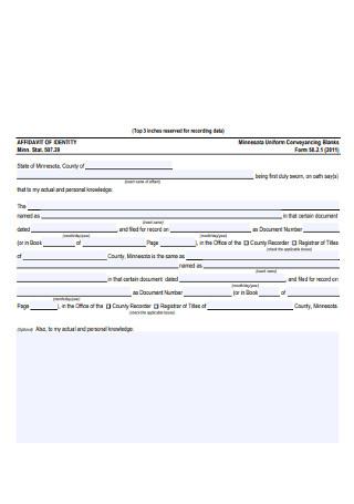 Blank Affidavit of Identy Form