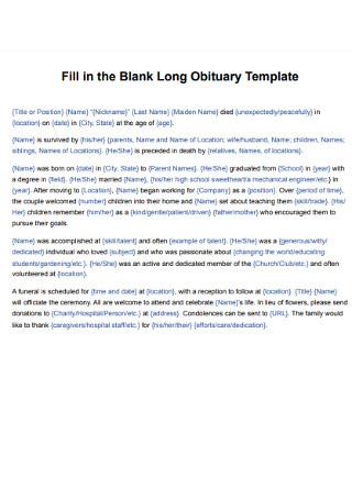Blank Long Obituary Template