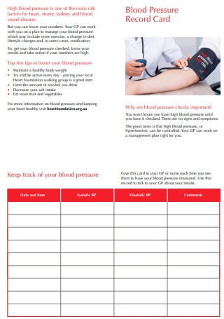 Blood Pressure Record Card