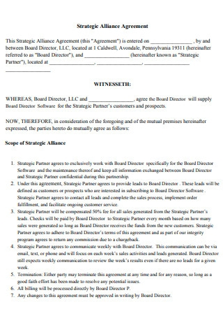 Board Directors Strategic Alliance Agreement