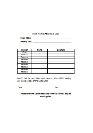 Board Meeting Attendance Sheet