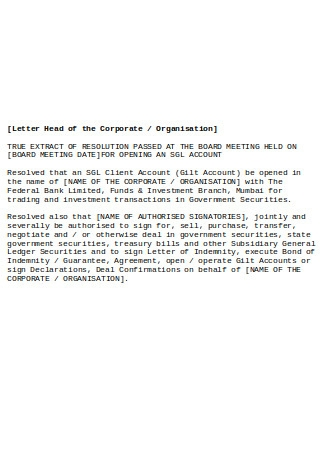 Board Resolution on Opening Account