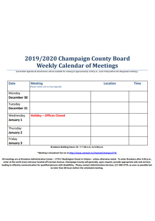 Board Weekly Calendar of Meetings