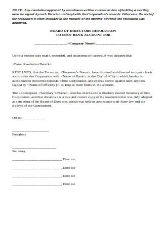 Board of Directors Resolution Letter