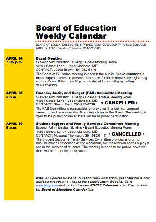 Board of Education Weekly Calendar