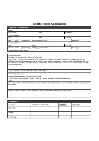 Booth Rental Application