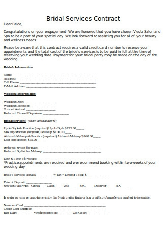 Bridal Services Contract