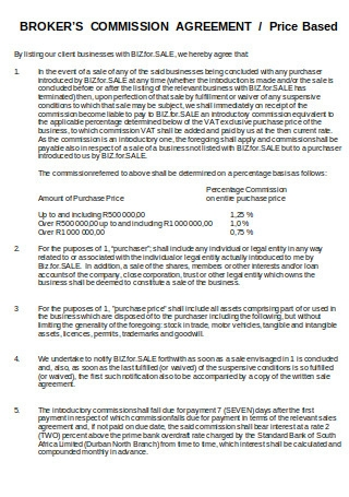 Brokers Commission Agreement1