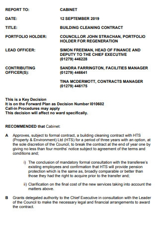 Building Cleaning Contract Sample