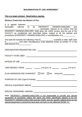 Building Facility Use Agreement