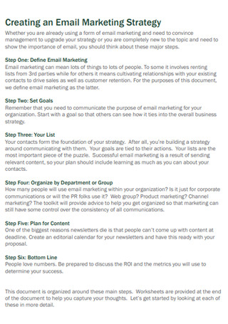 Building an Email Marketing Strategy Sample