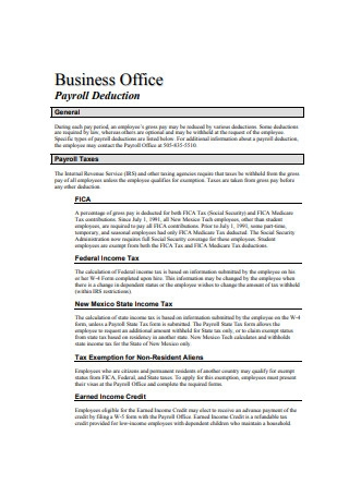 Business Office Payroll Deduction