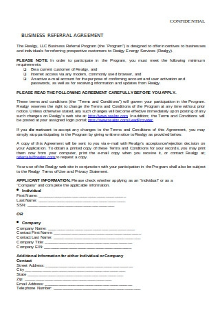 Business Referral Agreement
