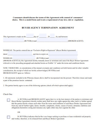 Buyer Agency Termination Agreement