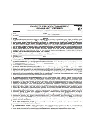 Buyer Representation Agreement Sample