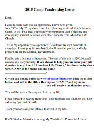 Camp Fundraising Letter