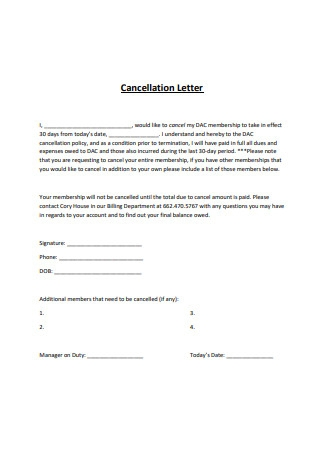 Cancellation Letter Sample