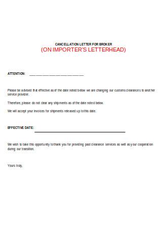 Cancellation Letter for Broker
