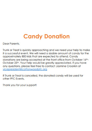 Candy Donation Letter