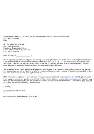 Cardiology Nursing Resignation Letter