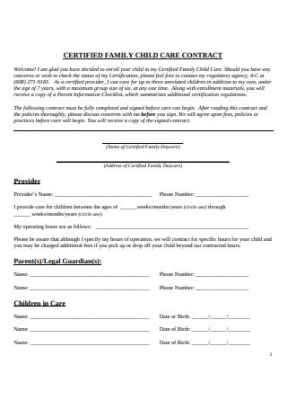 Certified Family Childcare Contract