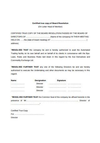 Certified Letter of Board Resolution