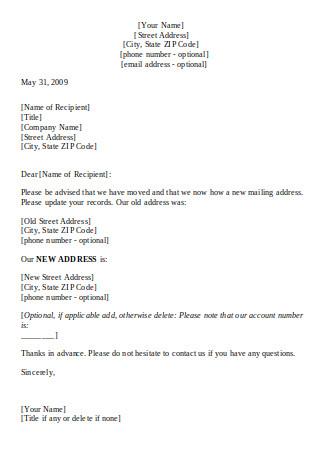 Change of Address Letter Format