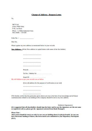 Change of Address Request Letter Sample