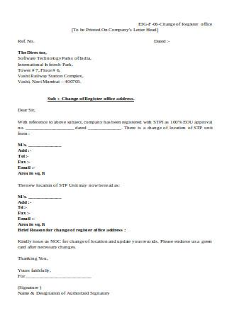 Change of Register Office Address