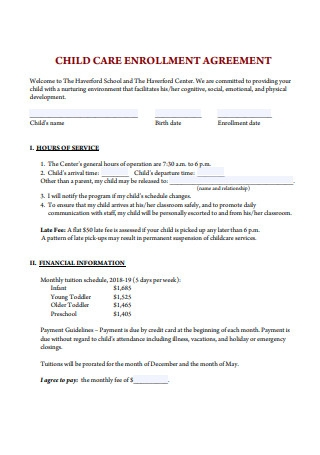 Child Care Enrollment Agreement