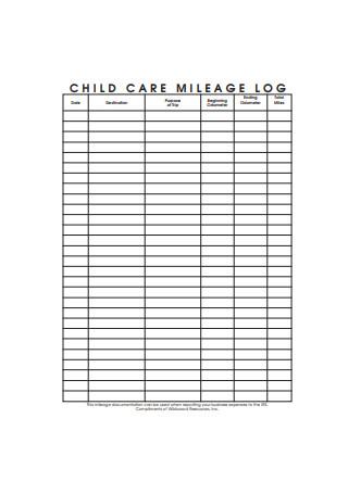 Child Care Mileage Log
