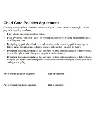Child Care Policies Agreement