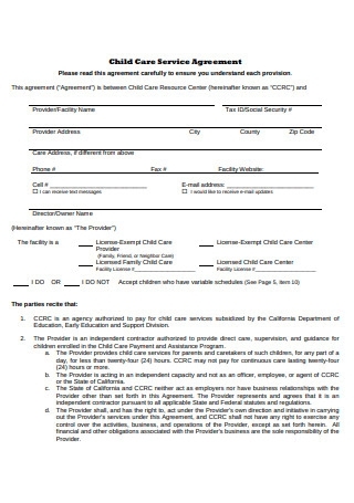 Child Care Service Agreement