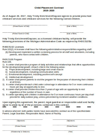 Child Placement Contract