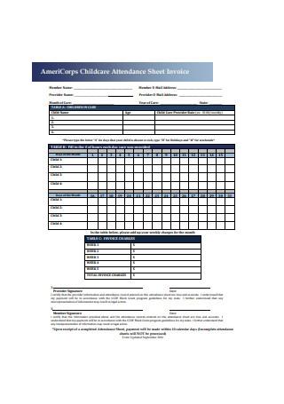 Childcare Attendance Sheet Invoice