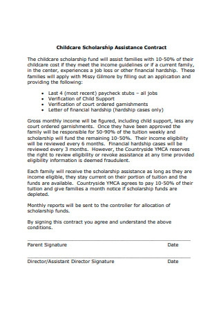 Childcare Scholarship Assistance Contract