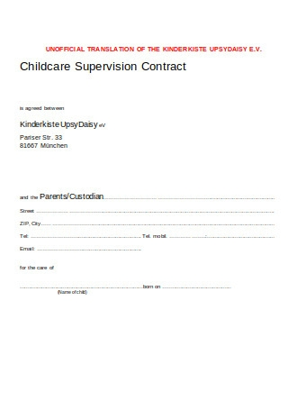 Childcare Supervision Contract