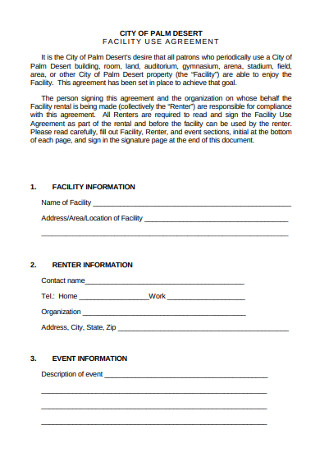 Cilty Facility Use Agreement