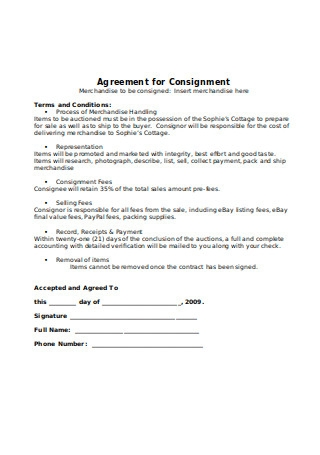 Coast Consignee Consignment Agreement