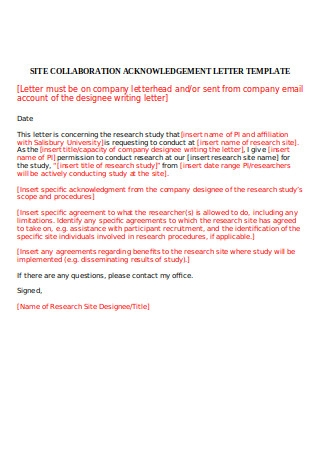 Collaboration Acknowledgment Letter