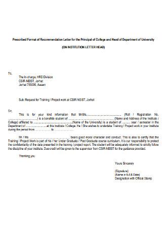 College Principal Recommendation Letter