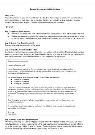 College Secure Recommendation Letters