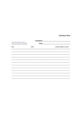 Committee Attendance Sheet