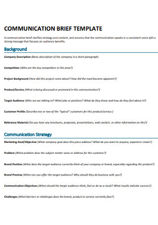 Communication Brief Template