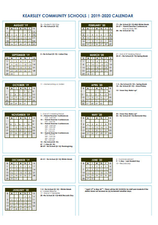 Community School Year Calendar