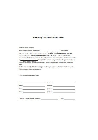 Company Authorization Letter Format