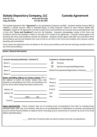 Company Custody Agreement