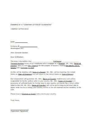 Company Letter of Guarantee Sample